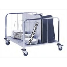 PLATE HOLDER AND TRAYS TROLLEY CPP102X-INOX (DOUBLE)