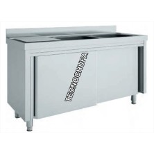 DOUBLE SINK WITH CABINET MNC70160D AND DRAINER (1600 X 700 MM)