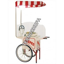 STAINLESS STEEL CART WITH ROOF AND LAMP CREPES