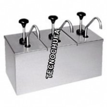 TOPPING DISPENSER TRIPLE INOX WITH PUMP STAINLESS STEEL