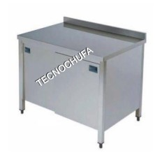 MTPC-166 STAINLESS STEEL WORK TABLE WITH SLIDING DOORS